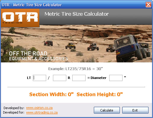 Off The Road Metric Tire Size Calculator